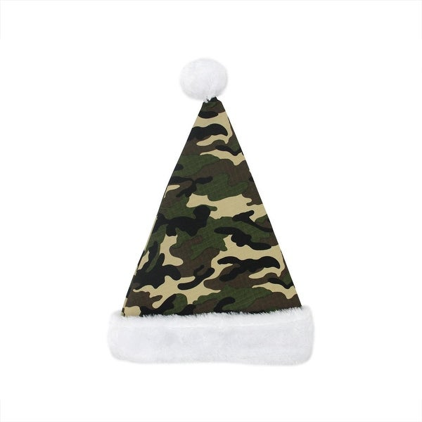 """17"""" Camouflage Faux-Fur Cuffed Christmas Santa Claus Hat - Adult Size"""