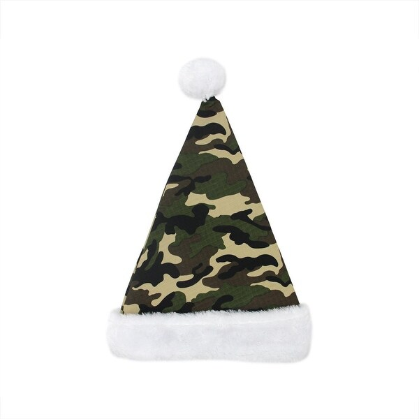 """17"""" Camouflage Faux-Fur Cuffed Christmas Santa Claus Hat - Adult Size - green"""