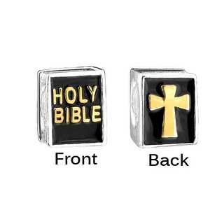 Holy Bible Charm Gold Plated 925 Sterling Silver Cross and Religious Bead for Bracelets