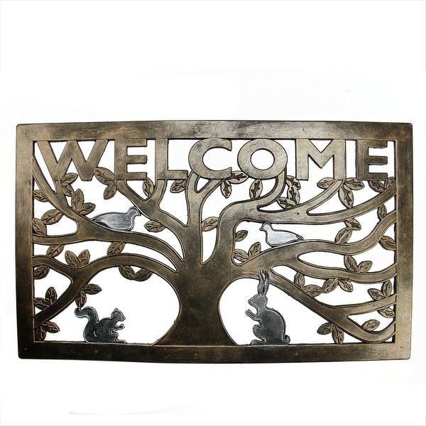 """Decorative Bronze and Silver """"Welcome"""" Outdoor Rectangular Rubber Door Mat 30"""" x 18"""""""