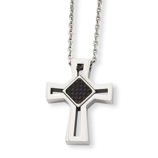 Stainless Steel Carbon Fiber Inlay Cross 24in Necklace (2 mm) - 24 in