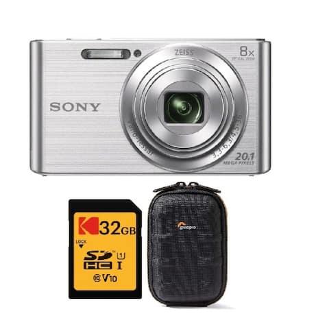 Sony Cyber-Shot W830 Digital Camera (Silver) Bundle with 16GB Memory Card