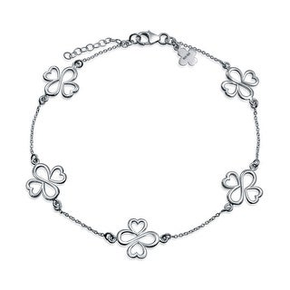 Bling Jewelry AYLLU Eternal Hearts Anklet Electroplated Sterling Silver 8in