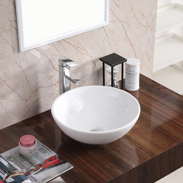 """Karran VC-411-WH Valera 16"""" Vitreous China Vessel Bathroom Sink in White. Opens flyout."""