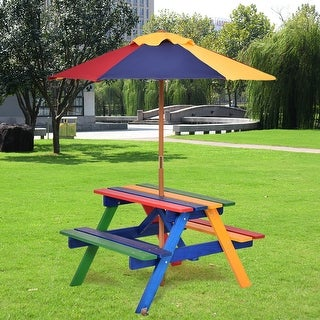 Costway 4 Seat Kids Picnic Table w/Umbrella Garden Yard Folding Children Bench Outdoor