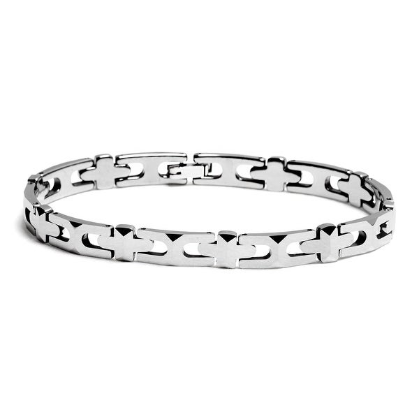 "Chisel Men's Polished Tungsten Carbide Bracelet Featuring Beveled ""X"" and ""+"" Design - 8.25 Inches"