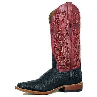 Horse Power Western Boots Mens Leather Cowboy Gator Black HP1071