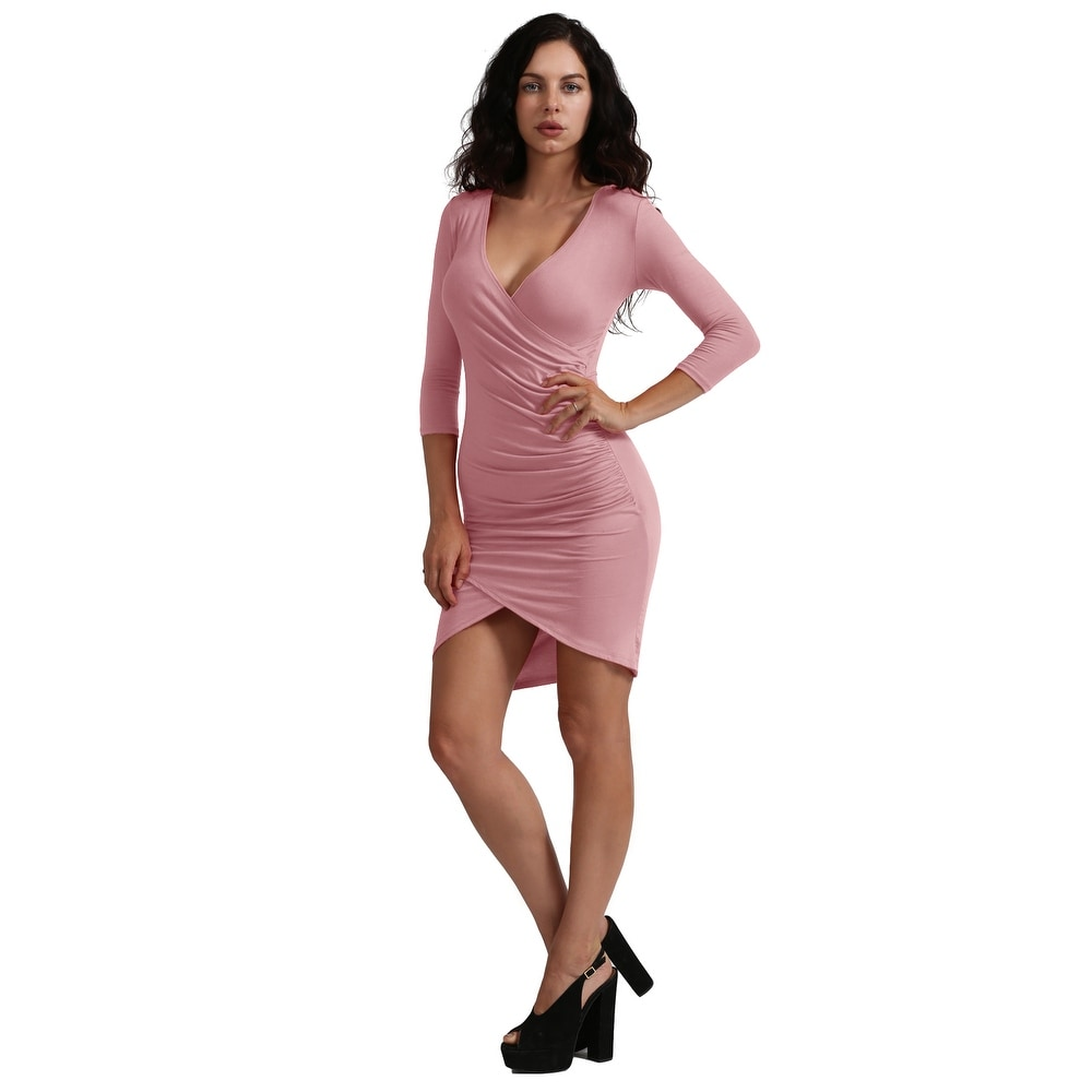 NE PEOPLE Womens Long Sleeve Dress with Plunged Ruched Front [NEWDR60]