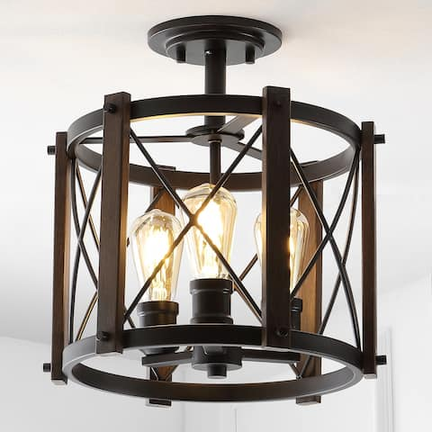"Ferme 14"" 3-Light Iron Rustic LED Flush Mount, Brown/Oil Rubbed Bronze - 14.5"""
