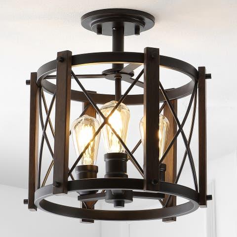 "Ferme 14"" 3-Light Iron Rustic LED Flush Mount, Brown/Oil Rubbed Bronze - 14.5"""