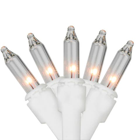 10 Count Clear Mini Christmas Light Set, White Wire