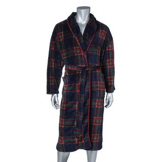 Nautica Mens Fleece Plaid Long Robe - o/s