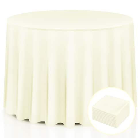 Costway 10 pcs 90'' Round Tablecloth Polyester For Home Wedding Restaurant Party Ivory