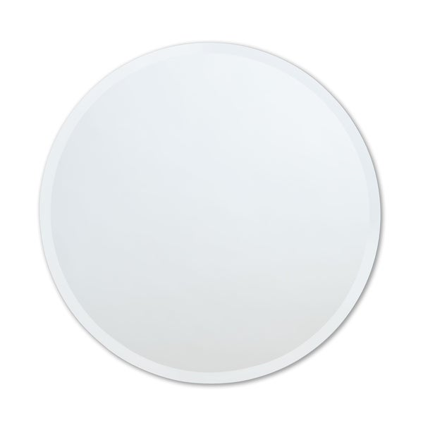 Frameless Beveled Edge Round Wall Mirror - Clear