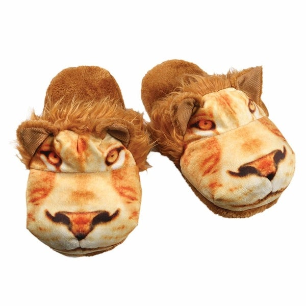 Women's Sublimated Print Fuzzy Animal Slippers - Lion