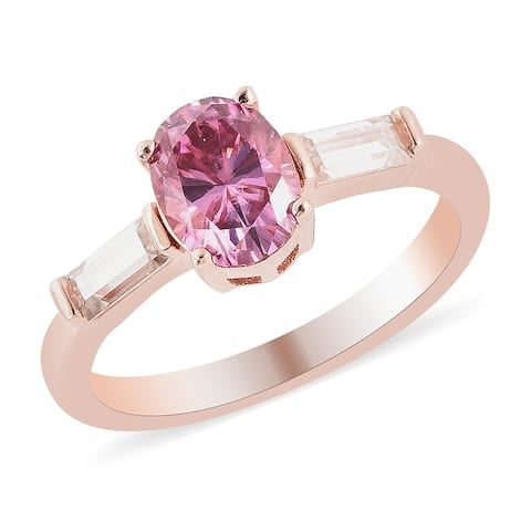 Shop LC Vermeil Rose Gold Over 925 Silver Moissanite Ring Ct 1.8