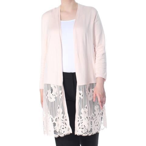 ALFANI Womens Pink Open Front Lace Hem Midi Cardiga 3/4 Sleeve Sweater Size: XL