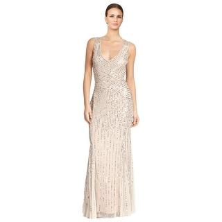 Aidan Mattox Sequin Tulle Sleeveless V-neck Formal Gown Dress - 2