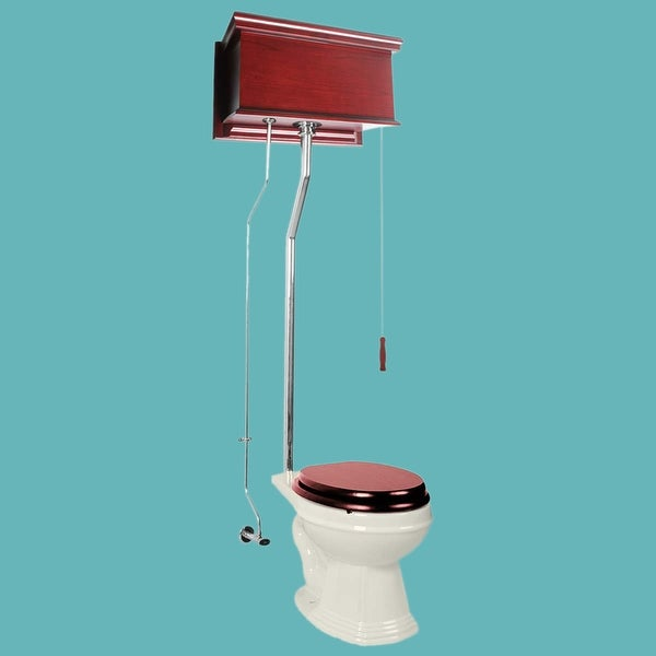 Cherry High Tank Toilet Biscuit Elongated Chrome | Renovator's Supply