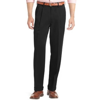 Izod Big and Tall Luxury Sport Traveler Pleated Dress Pants Black 42 x 36