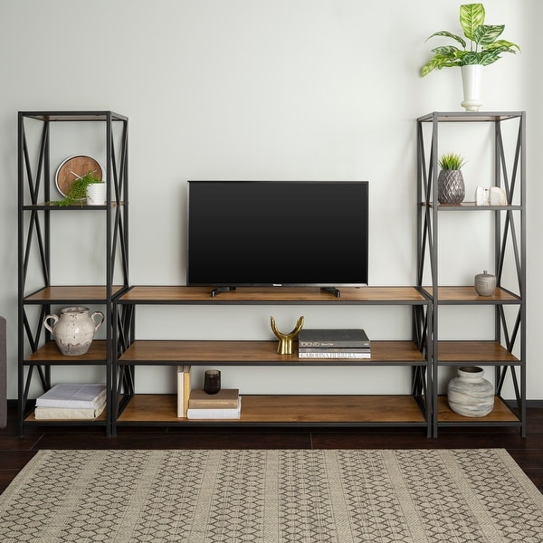 "Delacora WE-BDBS60XM2 X-Tower 78"" Wide 3 Piece Metal Framed Industrial Modular Shelving and TV Stand Set"