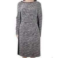 Lauren by Ralph Lauren Gray Womens Size 10 Marled-Knit Sheath Dress