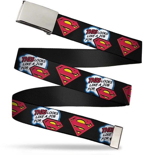 Blank Chrome Buckle This Looks Like A Job For...Superman Shield Black Web Belt