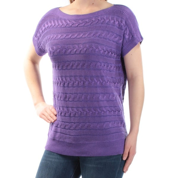 0e2df4584004 Shop Ralph Lauren Womens Purple Textured Short Sleeve Boat Neck Top Size  S  - On Sale - Free Shipping On Orders Over  45 - Overstock - 24058265