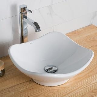 Link to Kraus Elavo 15 1/2 inch Tulip Porcelain Ceramic Vessel Bathroom Sink Similar Items in Sinks