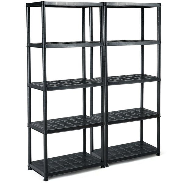 Gymax 2 PCS 5-Tier Ventilated Shelving Storage Rack Free Standing Multi-Use Shelf Unit