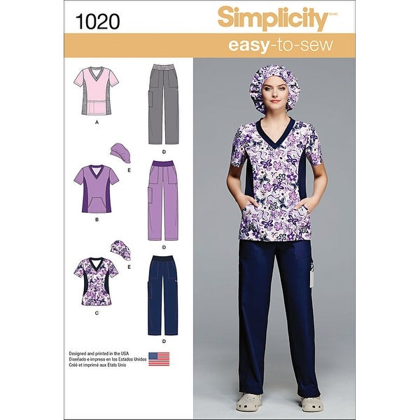 Simplicity Misses' And Plus Size Scrubs-20W-28W
