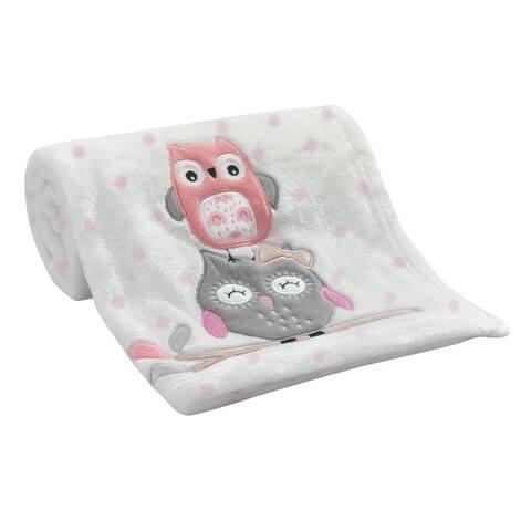 Lambs & Ivy Family Tree White/Pink Polka Dot Owl Luxury Coral Fleece Baby Blanket