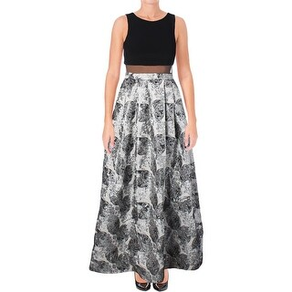 Aqua Womens Formal Dress Metallic Brocade