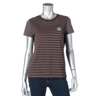 L-RL Lauren Active Womens Cotton Striped T-Shirt - M