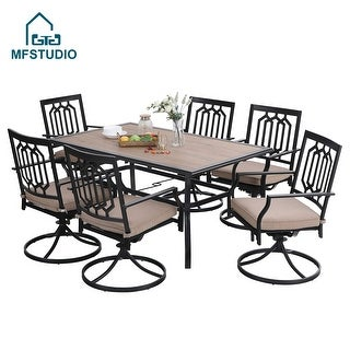 Link to MFSTUDIO 7 PCS Patio Dining Set, Large Rectangular Wood Like Top Table with 6 Swivel Chairs Similar Items in Patio Furniture