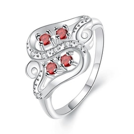 Quad-Petite Ruby Red Swirl Design Ring
