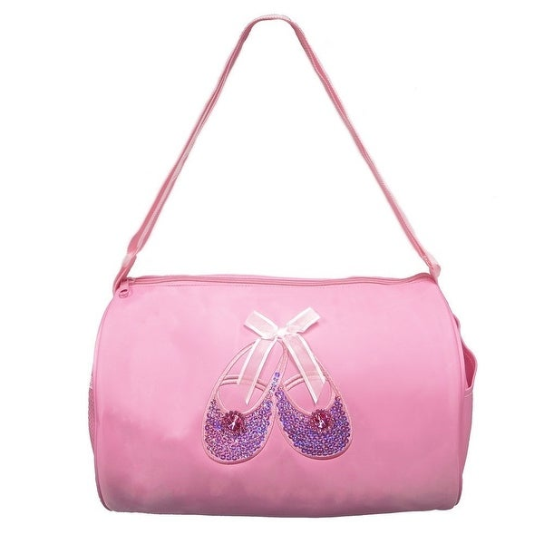 Shop Wenchoice Girls Pink Rhinestone Sequin Ballet Shoe Applique Duffel Bag  - One size - Free Shipping On Orders Over  45 - Overstock - 18660663 2b676323a1330