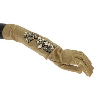 Dolce & Gabbana Dolce & Gabbana Gold Floral Crystal Elbow Long Gloves