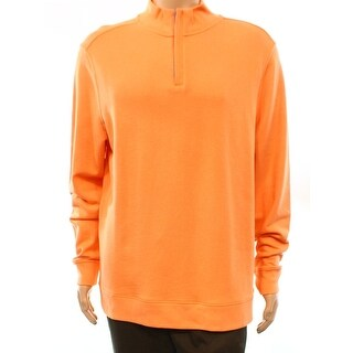 Club Room NEW Melon Orange Mens Size Large L 1/2 Zip Mock Neck Sweater