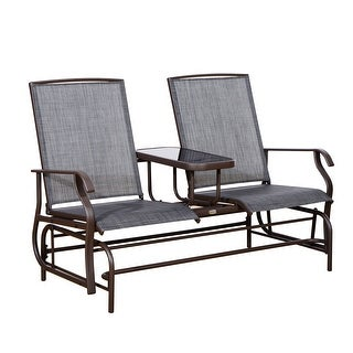 Link to Outsunny Two Person Outdoor Mesh Fabric Patio Double Glider Chair with Center Table Similar Items in Patio Furniture