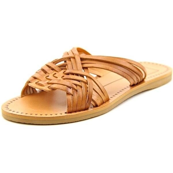 Dolce Vita Jacey Women Open Toe Leather Tan Slides Sandal