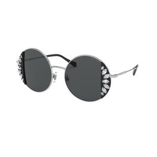 Miu Miu MU 57VS 01E5S0 49 Black/silver Woman Round Sunglasses