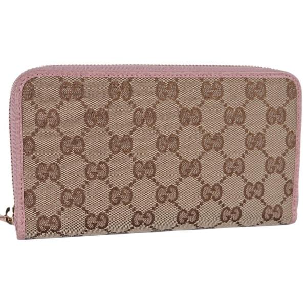 bbec778f3308 Shop Gucci 363423 Beige Pink GG Guccissima Canvas Zip Around Wallet ...