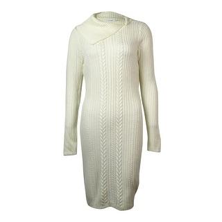 Calvin Klein Women's Asymmetrical Long Sleeves Sweater Dress - l