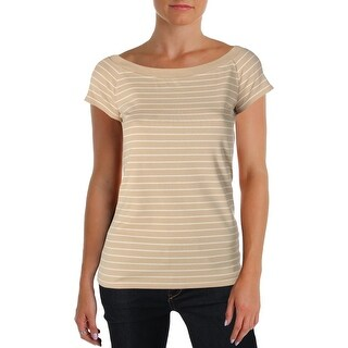 Lauren Ralph Lauren Womens Petites Casual Top Off-The-Shoulder Striped - pm