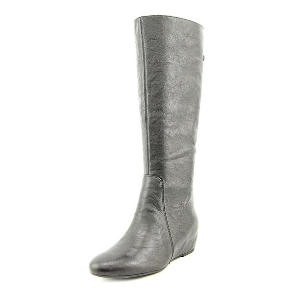 Nine West Myrtle Round Toe Leather Knee High Boot