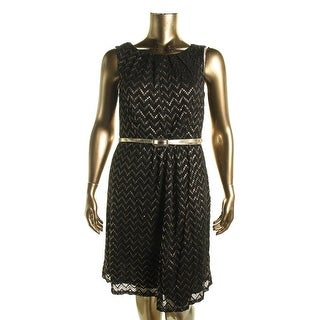 Connected Apparel Womens Plus Lace Metallic Party Dress