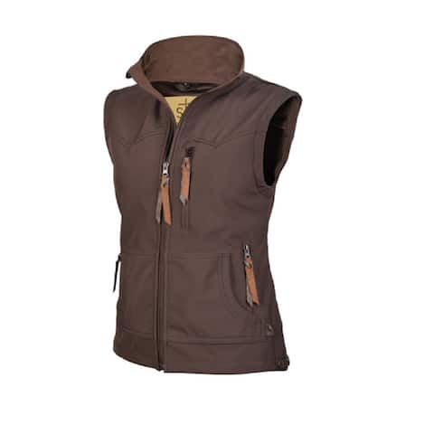 StS Ranchwear Western Vest Womens Barrier Zipper Front Brown