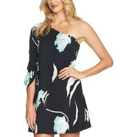 1.State Black Women's Size 10 Floral Ruch Sleeve Sheath Dress