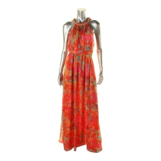 Laundry by Shelli Segal Womens Embellished Floral Print Evening Dress